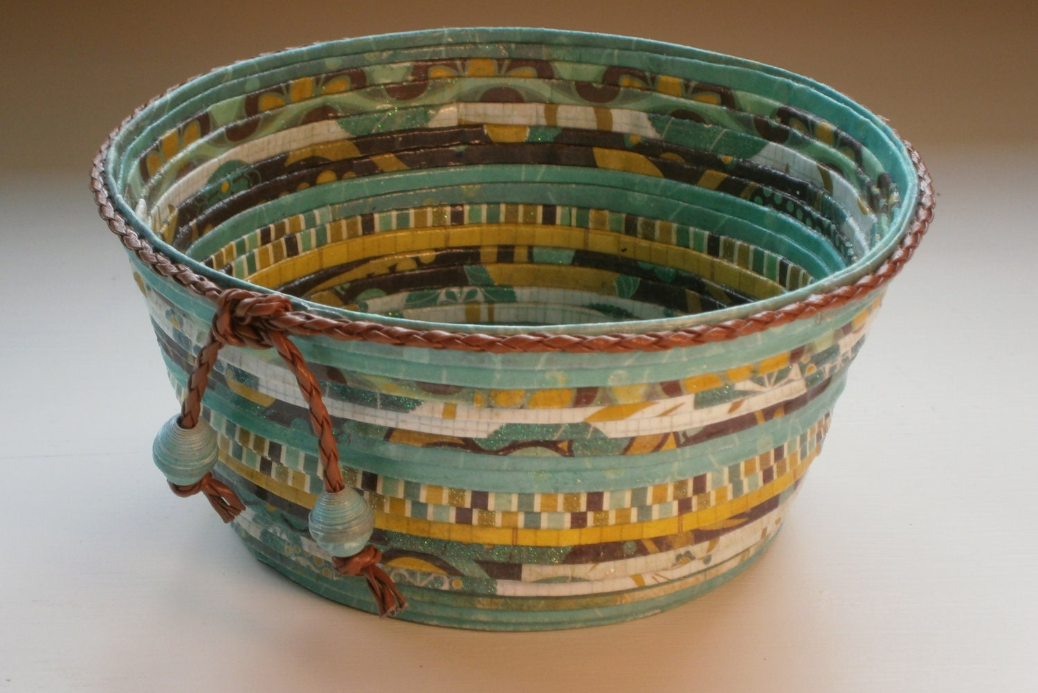 Handmade Basket Paper : Handmade paper basket bowl turquoise brown and by