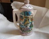 Maine Souvenir Pepper Shaker Lustreware Bas Relief Maine Dragon Pitcher Shaped Made in Japan Vintage