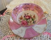 Vintage Pink Lustreware Teacup Saucer Rose Motif Shabby Cottage Chic