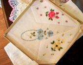 Vintage Handkerchiefs Ladies Desco Cotton Hankies Rose 3 In Original Box Shabby Chic
