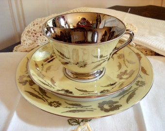 Vintage Lustreware Teacup Yellow Tea Cup Saucer Dessert Plate Snack Set Tea Trio