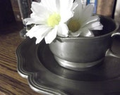 Pewter Sugar Bowl & Plate- PLATE ONLY