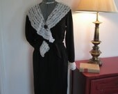 1950's/60's Sue Gail Inc. Black Cocktail Dress With Lace Neckline and Cuff