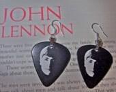 John Lennon With The Beatles earrings made from guitar picks