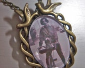 Audrey Hepburn and dog photo pendant and necklace