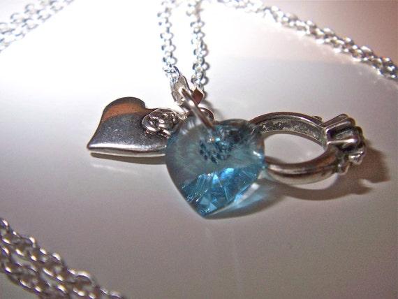 Heart charm Swarovski silver necklace