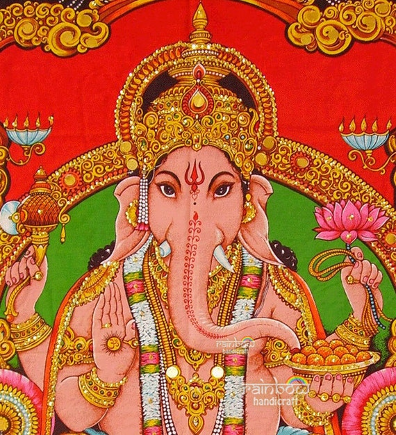 hindu deity ganesh ganesha sequin wall hanging Indian religious elephant head god coton fabric painting tapestry ethnic decor art India