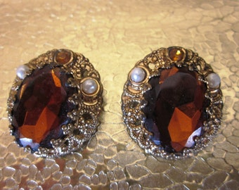 Vintage West Germany Pearl Amber Brown Clip On Earrings, Anniversary, Birthday, Holiday Gift, Fall Bridesmaid Earrings