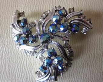 "SALE Vintage AB Aurora Borealis Rhinestone Silver Brooch, Bridal Brooch, Something ""Blue"" Brooch, Engagement and Bridal Bouquet Brooch"