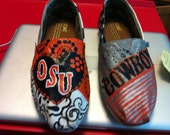 Customized and hand painted OSU Toms Shoes.