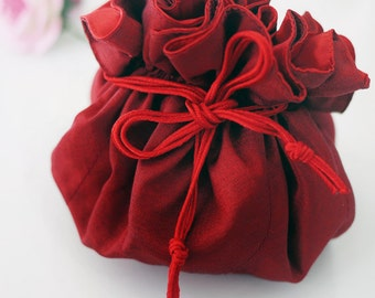 Red jewelry bag / Traveling jewelry bag /Drawstring Pouch