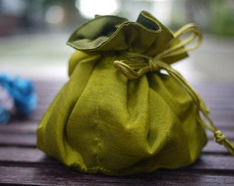 Peridot color jewelry bag / Traveling jewelry bag /Drawstring Pouch