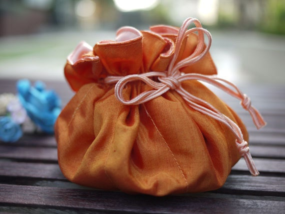 Orange jewelry bag / Traveling jewelry bag /Drawstring Pouch