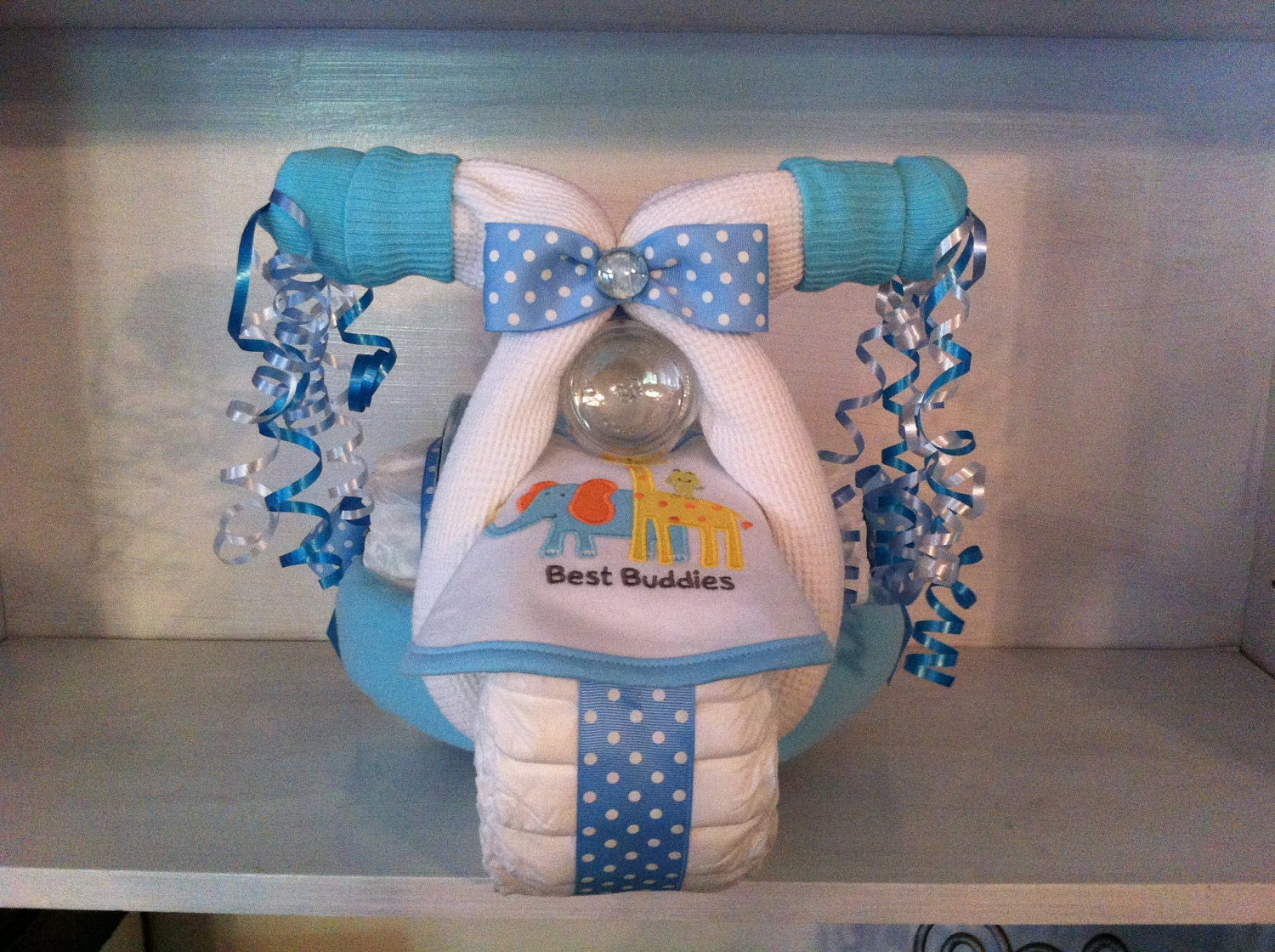 Blue diaper tricycle personalized with name or initials by ceejaze