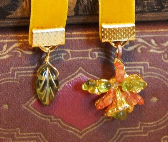 Recycled Antique Earring Velvet Bookmark