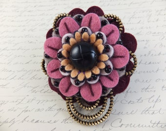 Flower Felt Zipper Brooch (For Coat, Jacket, Hat )