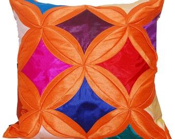 Colorful Throw Pillow, Orange Pillow, Rainbow Pillow, Multicoloredi, Bright, Vibrant, Unique, Decorative, Cushion Cover- 'Summer Garden'