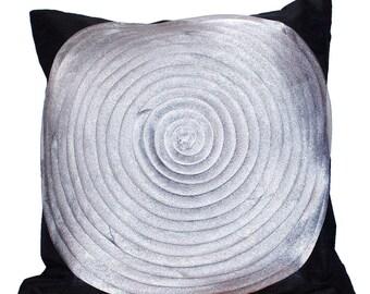 Ruffle Throw Pillow, Black Silver Grey Pillow, Organza Throw Pillow, Decorative Cushion, Accent Pillow, Swirls, 16x16- 'Glam Silver Ruffles