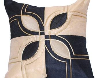 Black Throw Pillow, Decorative Throw Pillow, Flower Throw Pillow, Silk Pillow, Cushion Cover, Black and Cream - 'Classic Black & Cream'