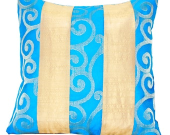 Turquoise Throw Pillow, Blue Throw Pillow, Blue Cushion, Decorative Throw Pillow, Turquoise, Beige, Cream, 16x16 - 'Turquoise Blue Ocean'