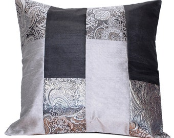 Black and Silver Pillow, Bed Pillow, Sofa Pillow, Black Silver Grey, Throw Pillow Cover, Decorative, Home Decor- 'Black Silver Medley'