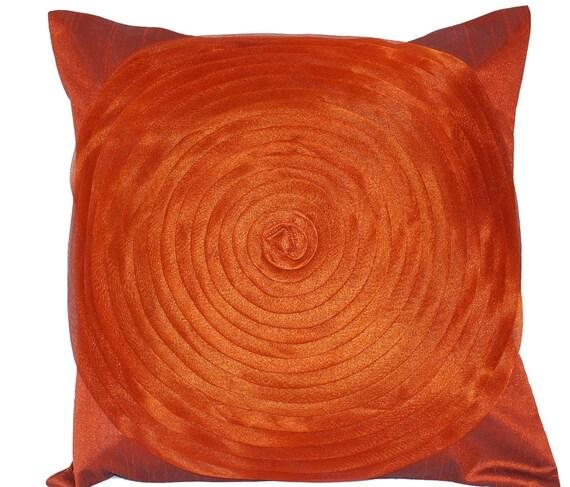 Rust Throw Pillow, Brown Throw Pillow, Throw Pillow Cover, Orange, Copper, Ruffles, Bright, Autumn Decor- 'Glam Rust Ruffles'