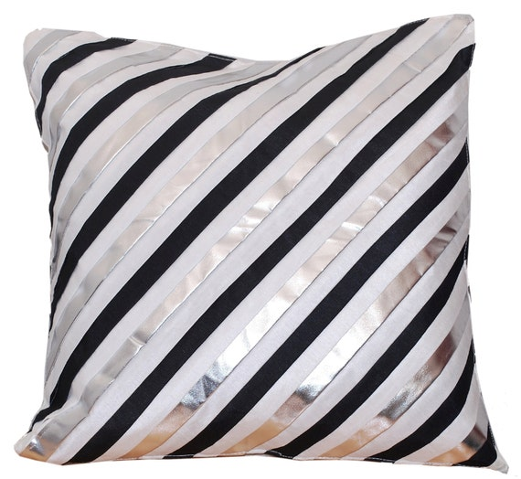 Black And Silver Decorative Pillows : White Black Silver Throw Pillow Cover Decorative Pillow
