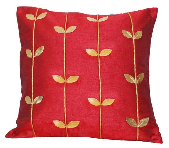 Red Throw Pillow, Gold Throw Pillow, Decorative Throw Pillow, Cushion Cover, Leaf, Cord, Red and Gold, 16x16 - 'Royal Red and Gold'