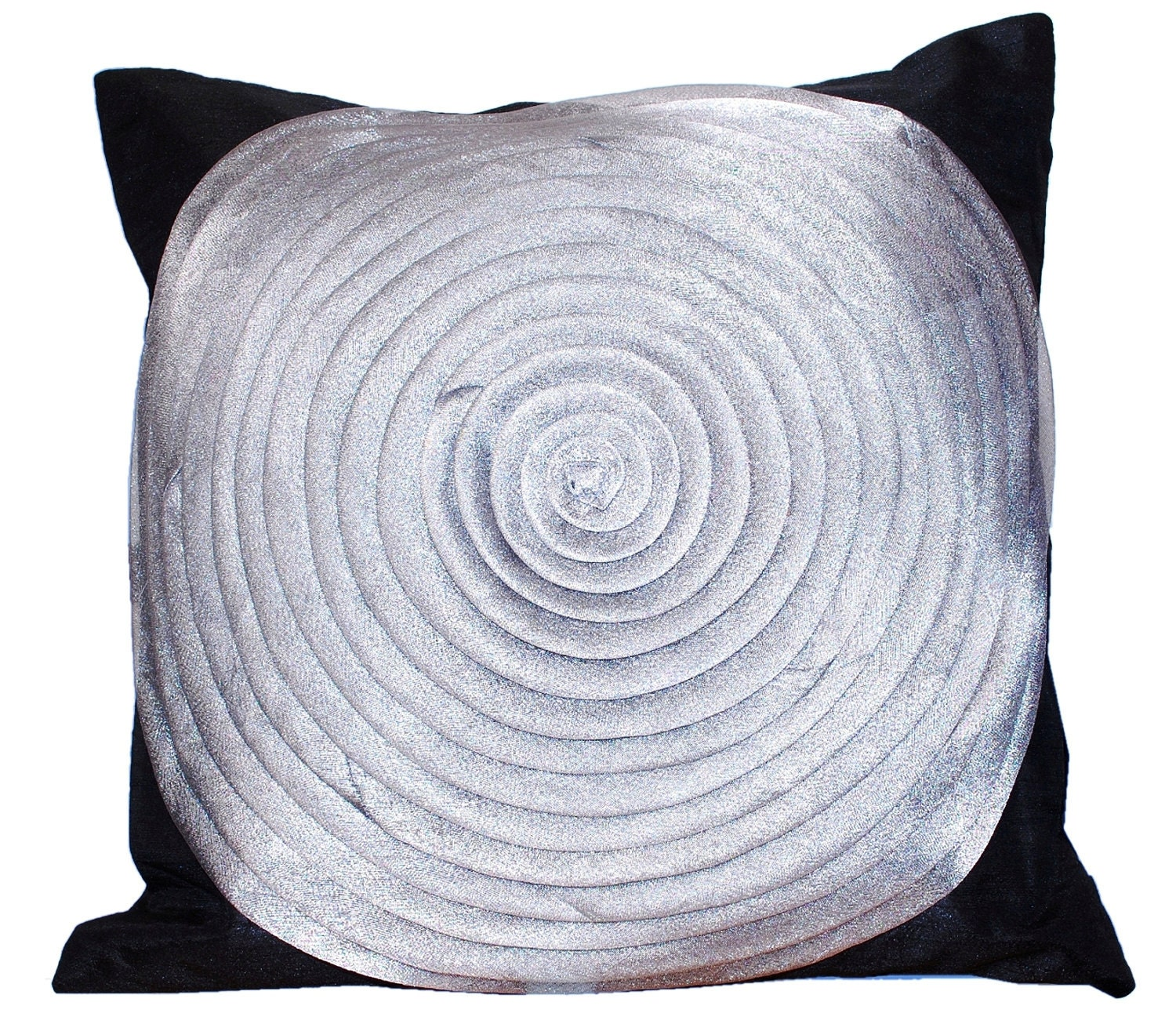 Ruffle Throw Pillow Black Silver Grey Pillow Organza Throw