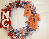 House Divided Ribbon Wreath (NC State, Auburn)