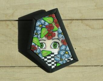 Shy Girl  - Polymer Clay Brooch