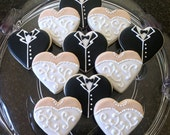 Wedding Dress and Tuxedo Heart Sugar Cookies- Set of 24
