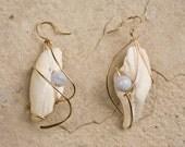 Custom Design Earrings, shell, semi precious stone, gold filled, argentium sterling, niobium