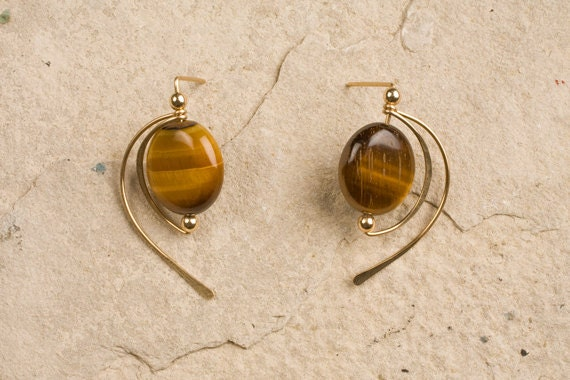 Tigers Eye Post Earrings, gold filled, argentium sterling, niobium,  CHOOSE your METAL and your STONES