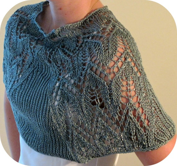Knitting Pattern For Round Baby Shawl : Items similar to Knitted cotton shawl, round cowl, handmade, blue on Etsy