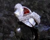 Trillion garnet, fine silver ring, available by custom order only