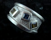 Trilogy - fine silver ring, sz 8.5 -  custom order