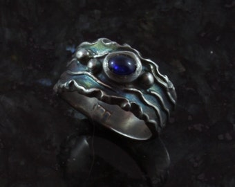 Aurora Borealis sapphire fine silver ring - available by custom order