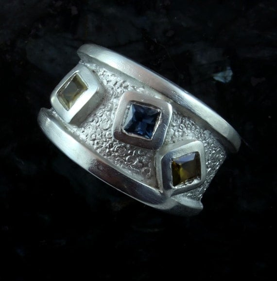 Trilogy - peridot and sapphire fine silver ring, sz 6.5 - also available by custom order