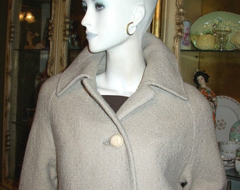 Vintage 1960s MOD Taupe Wool Coat with Celluloid Buttons..Retro Mid Century Rockabily
