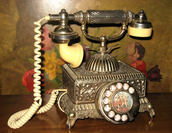 Vintage 1960s French Baroque HOLLYWOOD REGENCY Ornate Brass & Celluloid Rotary Dial TELEPHONE w Cord
