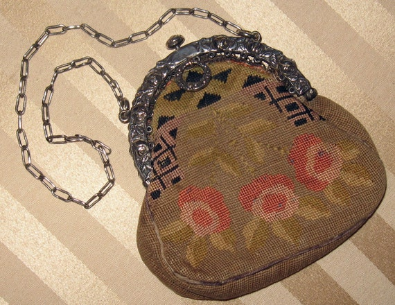 Vintage 1800s VICTORIAN Wool Petit Point Needlepoint CHATELAINE PURSE w Silver Floral Frame & Link Chain..Steampunk Gothic Edwardian