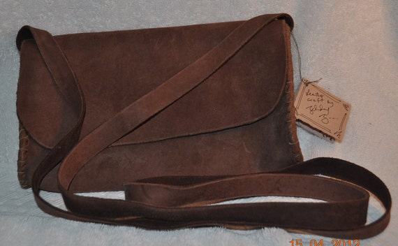 Leather Medium Purse, Cow leather, pig thread, 9in. x 5in. x 1 7/8in.  w/ Shoulder strap