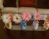 MASON JARS PAINTED set of 3 with ribbon/flowers