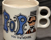 Oversized Pop You Old Weasel Moustache Mug - Protect the stache - Father's Day