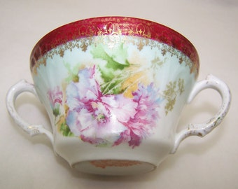 FREE S & H Antique Wheelock Imperial Austria Dbl Handle Cream Soup Cup Feathered Poppy Vintage 1800s RARE