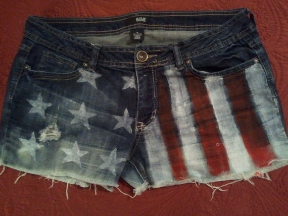CUSTOM:  Denim Womens/Junior Cut Off Shorts.  Custom Made to Show Your Patriotic Spirit.