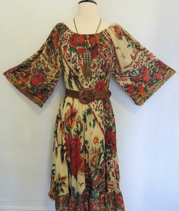 Vintage 60s 70s India Cotton Dress Floral with Bell Sleeves