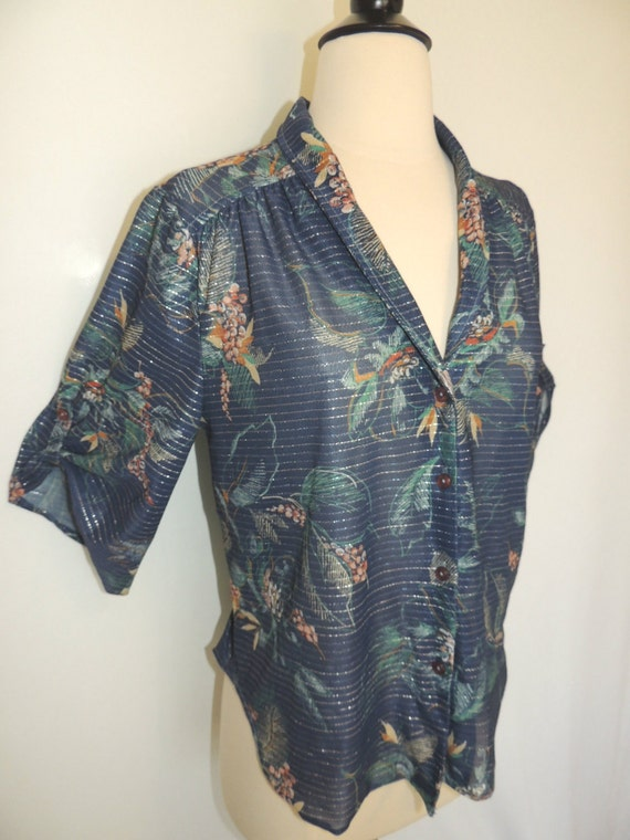 Vintage 70s Shirt Flared Sleeves Floral with Silver Threading