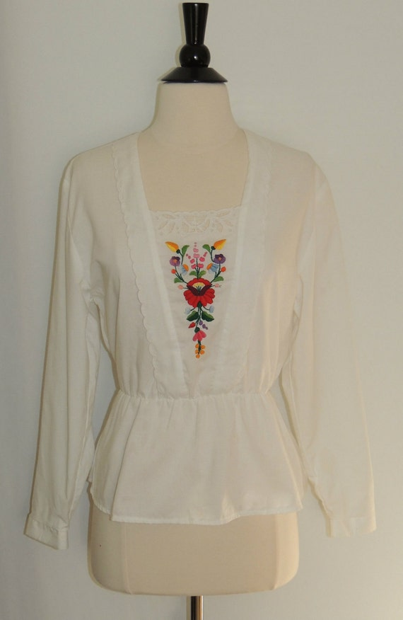 Vintage 80s Blouse FLORAL EMBROIDERED SHIRT